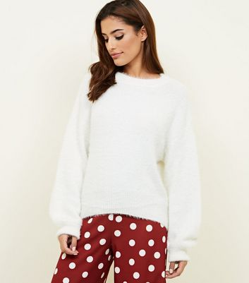 Cream Fluffy Slouchy Jumper by New Look