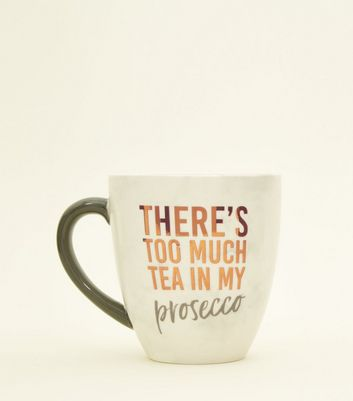 Dark Grey Marble Effect Too Much Prosecco Mug by New Look