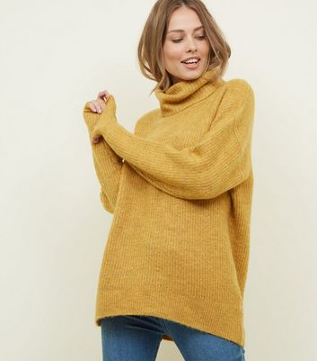 Tall Mustard Roll Neck Slouchy Jumper