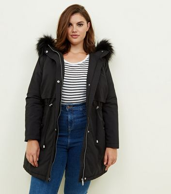Curves Black Faux Fur Trim Hooded Parka