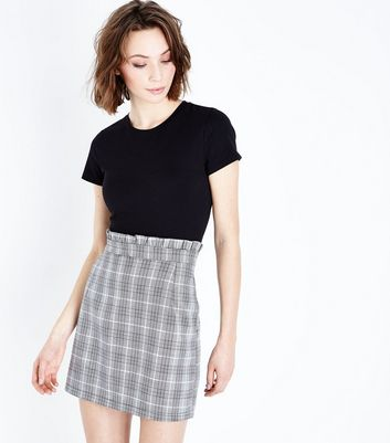 Cameo Rose Grey Check Paperbag Waist Mini Skirt