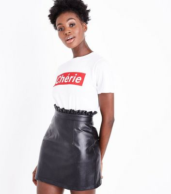 Cameo Rose Black Leather-Look Paperbag Waist Skirt