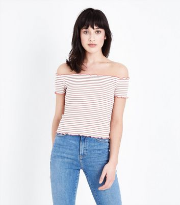 ... Light Brown Stripe Ribbed Bardot Top