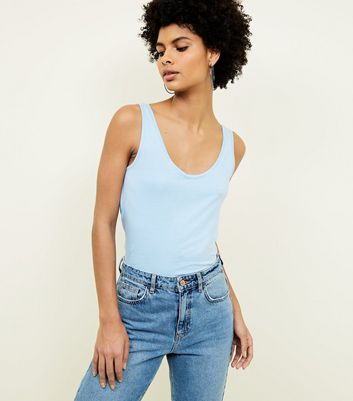 Tall Pale Blue Scoop Neck Vest Top
