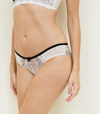Monochrome Layered Lace Brazilian Briefs