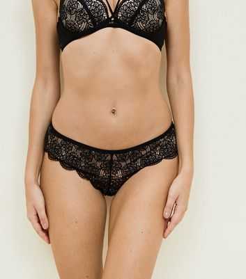 Black Lace Scallop Brazilian Briefs