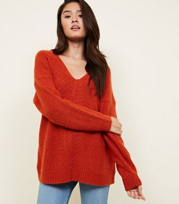 Orange Ribbed Lattice Back Jumper