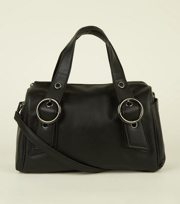 Black Leather-Look Circle Buckle Bowler Bag
