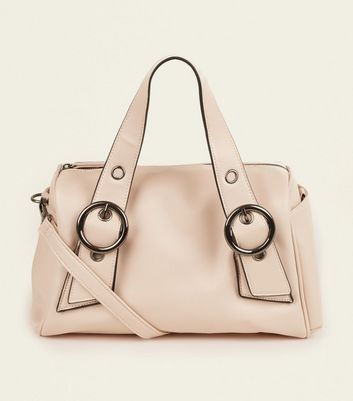 Nude Leather-Look Circle Buckle Bowler Bag