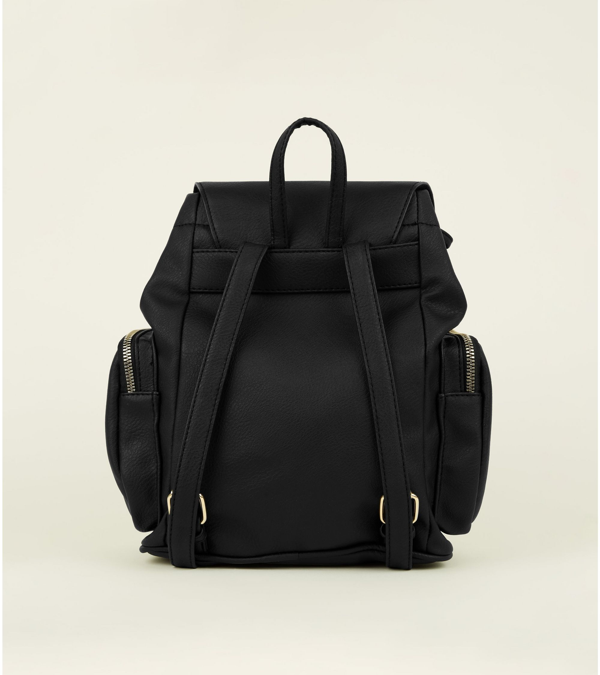 9237a0ba5 New Look Black Leather Look Flap Front Drawstring Backpack at £22.99 ...