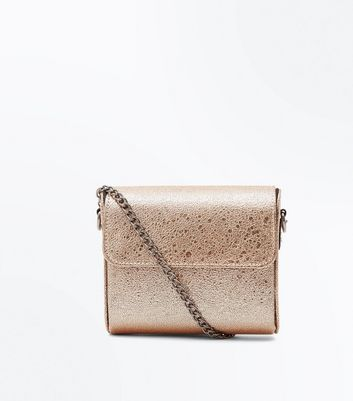 Rose Gold Curve Micro Chain Shoulder Bag