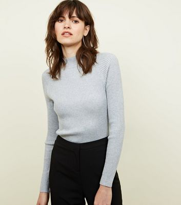Pale Grey Ribbed Funnel Neck Jumper