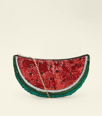 Red Watermelon Sequin Cross Body Bag
