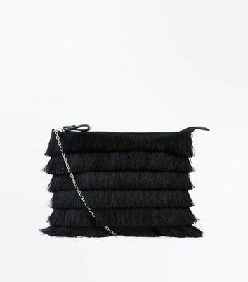 Black Layered Tassel Zip Top Clutch Bag