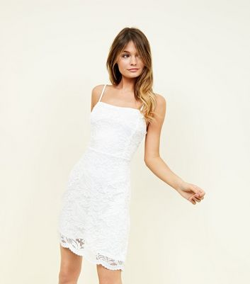 Cream Lace Strappy Square Neck Skater Dress