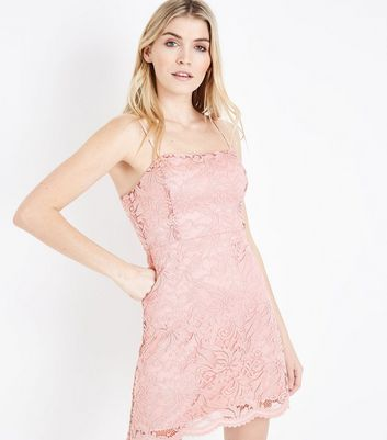 Pale Pink Lace Strappy Square Neck Skater Dress