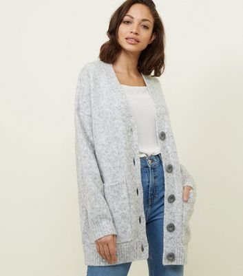 Pale Grey Oversized Cardigan