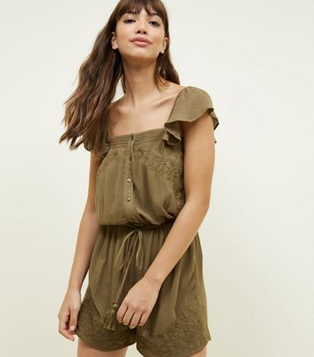 Khaki Floral Embroidered Tassel Tie Playsuit by New Look