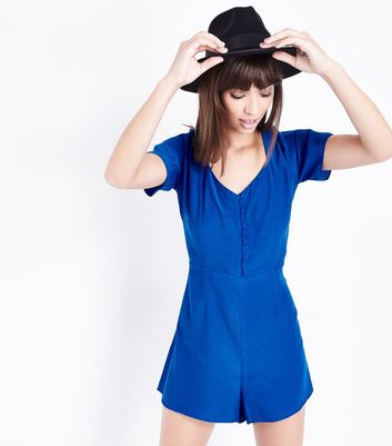Blue Button Front Lace-Up Back Playsuit