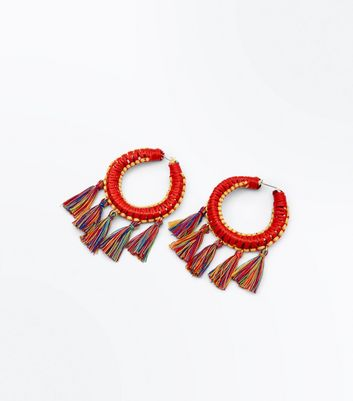Red Tassel Drop Hoop Earrings
