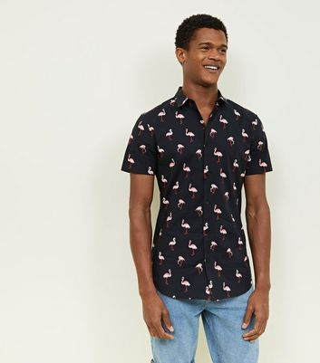 Black Flamingo Print Short Sleeve Shirt