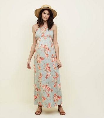 Maternity Blue Floral Bandeau Maxi Dress
