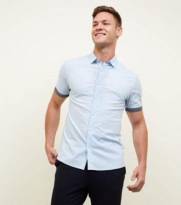 Pale Blue Short Sleeve Trim Muscle Fit Shirt