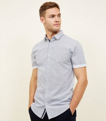 Navy Geometric Short Sleeve Shirt