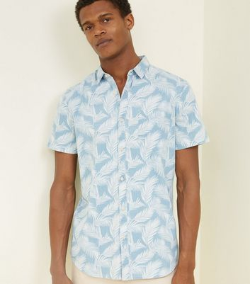 Blue Fern Leaf Print Shirt