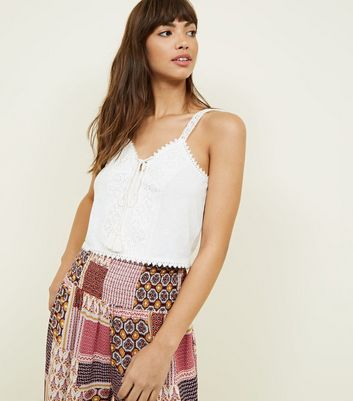 Off White Lace Trim Tassel Tie Cropped Vest by New Look