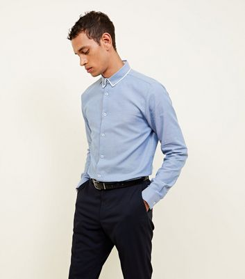 Navy Textured Double Collared Shirt