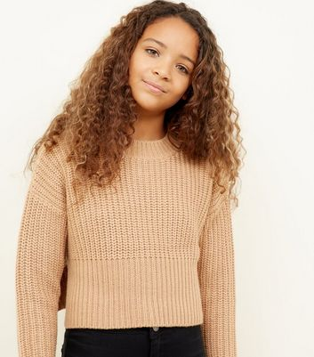 Girls Camel Chunky Knit Jumper