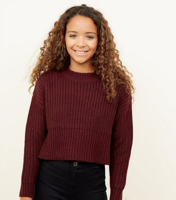 Girls Burgundy Chunky Knit Jumper