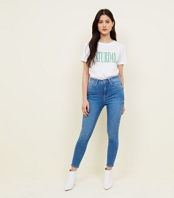 Petite Blue High Waist Skinny 'Lift & Shape' Jeans