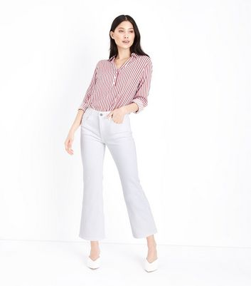 Petite White Cropped Kick Flare Jeans
