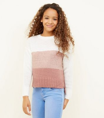 Girls Pink Colour Block Jumper