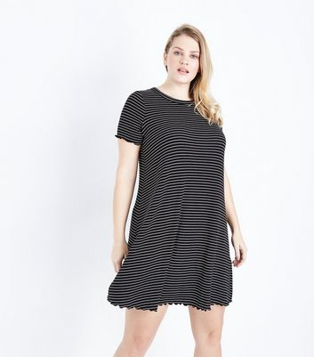 Curves Black Stripe Frill Hem Swing Dress