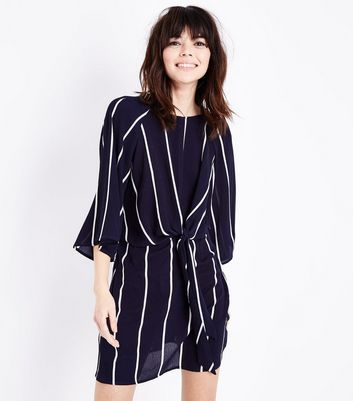 AX Paris Navy Stripe Tie Front Mini Dress