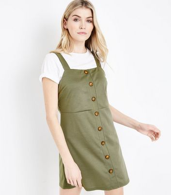 Khaki Button Front Jersey Pinafore Dress
