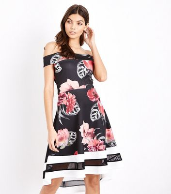 Black Floral Print Dip Hem Bardot Neck Dress