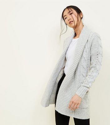 Grey Shawl Collar Cable Knit Cardigan