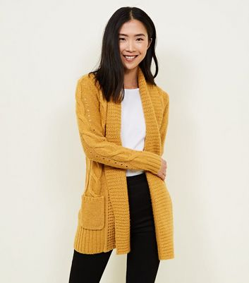Mustard Shawl Collar Cable Knit Cardigan