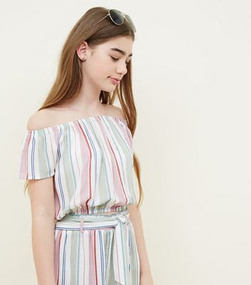 Teens White Pastel Stripe Woven Bardot Top