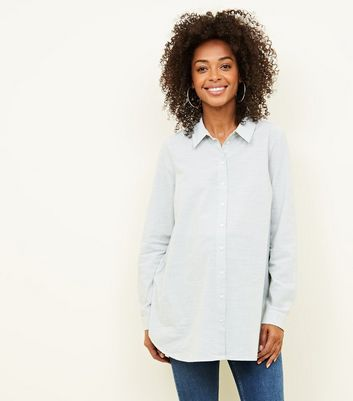 Maternity Pale Grey Slub Button Through Shirt