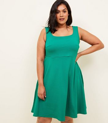 Curves Green Square Neck Sleeveless Skater Dress
