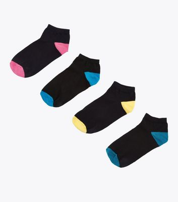 4 Pack Black Colour Block Trainer Socks by New Look
