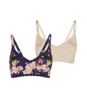 Maternity 2 Pack Navy Floral and Nude Nursing Bra