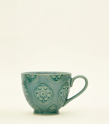 Bright Blue Tile Print Glazed Mug