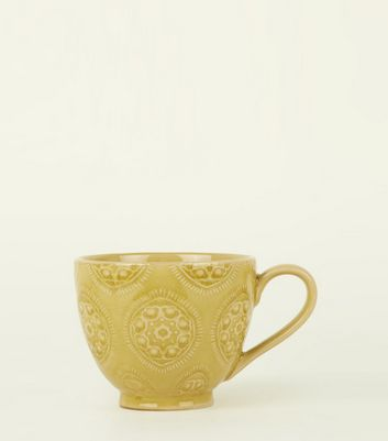 Yellow Tile Etched Glazed Mug