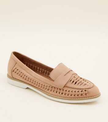 Pink Woven Leather Penny Loafers